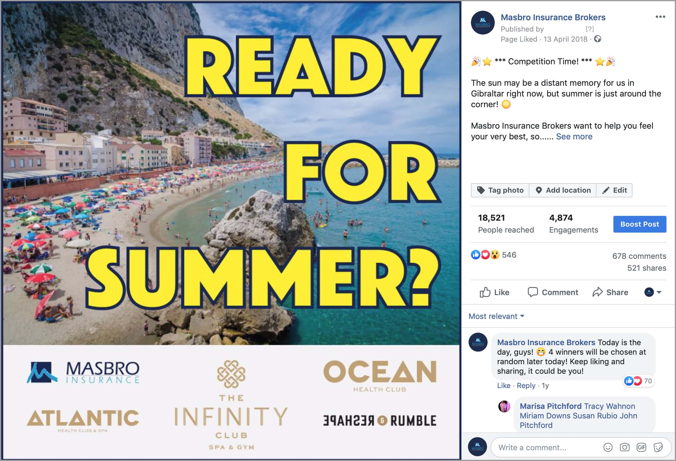 """Image of Masbro Insurance Facebook """"Summer"""" competition post"""