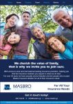 Masbro Insurance life insurance advert with happy family outdoors
