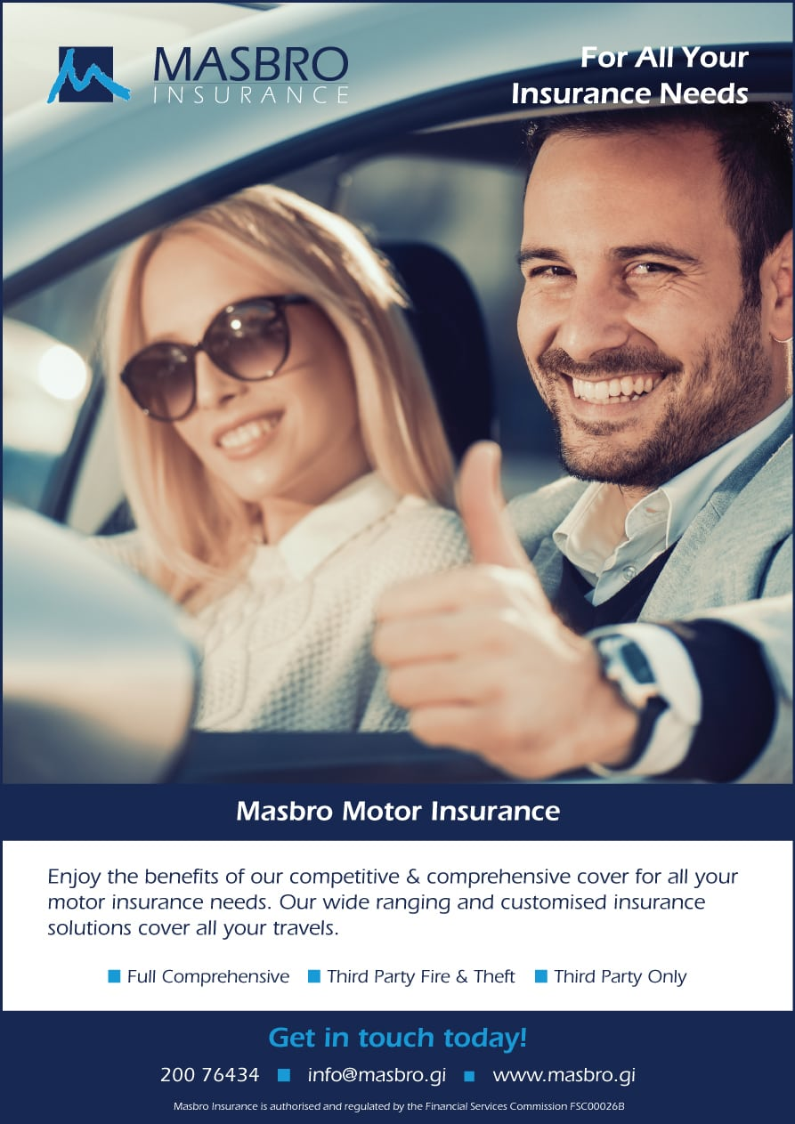 Masbro Insurance motor advert with smiling couple in a car with thumbs up