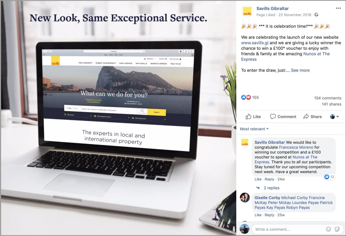 """Image of Savills Facebook """"New Website"""" competition post"""