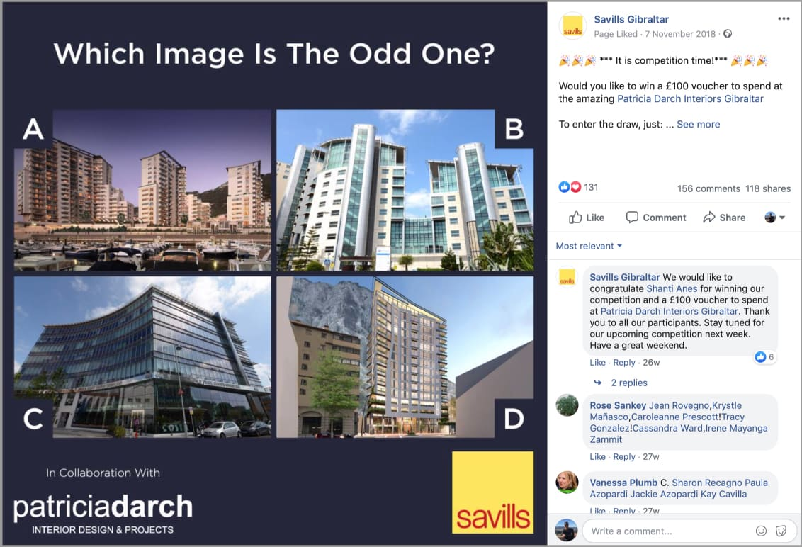 """Image of Savills Facebook """"The Odd One"""" competition post"""