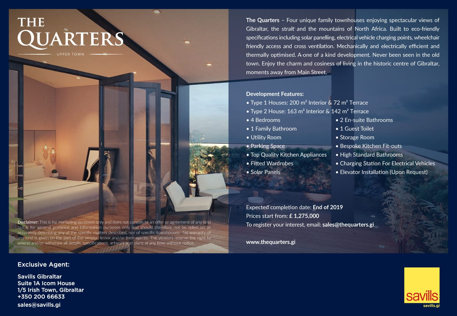 The Quarters half page advert in The Chronicle newspaper, Gibraltar